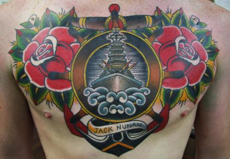 Ben Rorke - Traditional Ship and Roses Chest piece Tattoo