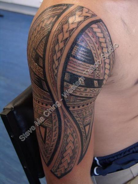 Steve Ma Ching - Black Work Half Sleeve Tattoo
