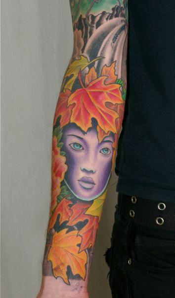Tattoos - Fall Leaves Tattoo Sleeve - 61605