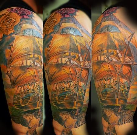 Tattoos - Pirate ship front piece - 94494