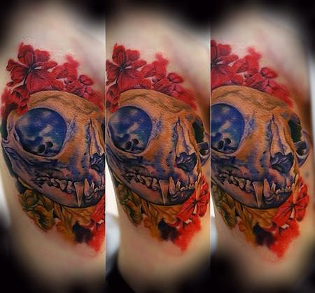 Tattoos - Cat skull rib piece - 94496