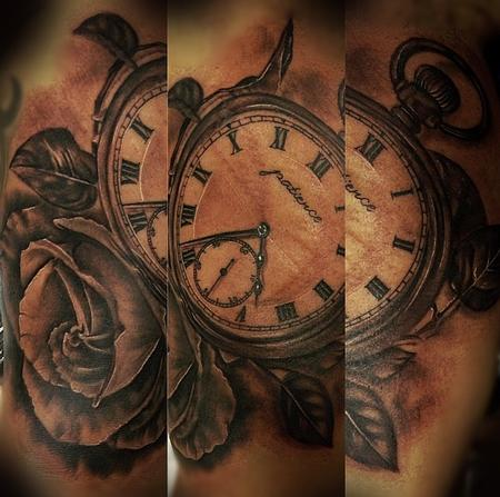Tattoos - Pocket watch and Rose - 94501