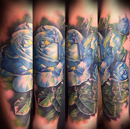 Tattoos - Cover-up blue flowers - 95938