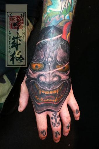 Tattoos - Hannya Mask Hand Tattoo - 60540