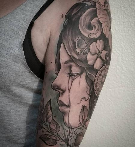Tattoos - Art Nouveau Woman crying, black and grey, color, arm tattoo - 130516