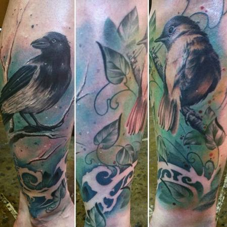 Tattoos - Color Art Nouveau birds, vines, branches, trees on leg, rework by Yorick Tattoo - 130735