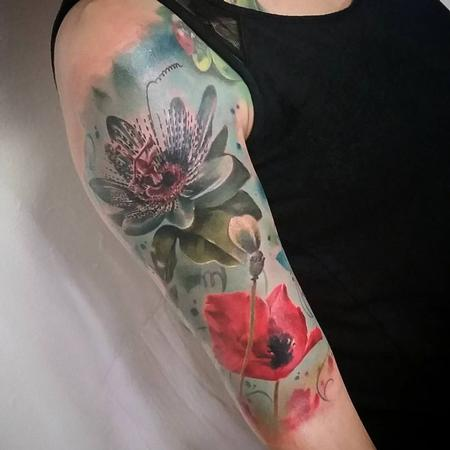 Tattoos - Flowers Realistic, color, half sleeve, poppy, lily realism, yorick tattoo - 130904