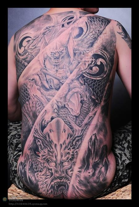 Tattoos - Black and grey back piece - 70703