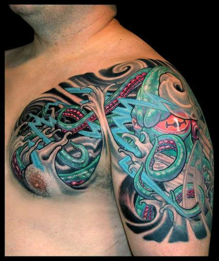 Tattoos - Octopus, Wind, Waves and Lightning  - 79392