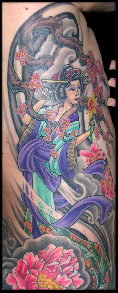 Tattoos - Geisha, Wind, Peonies, Cherry Blossoms and a Daffodil  - 79366