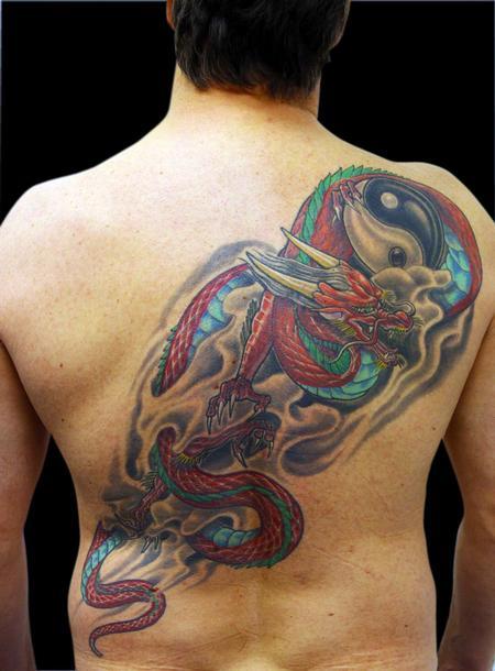 Tattoos - Asian Dragon and Yin-Yang - 79377