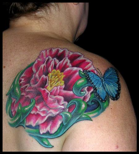 Tattoos - Peonie and a Blue Morpho Butterfly - 79436