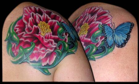 Tattoos - Peonie and a Blue Morpho Butterfly - 79437