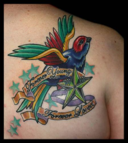 Tattoos - Sparow, Banner and Stars - 79351