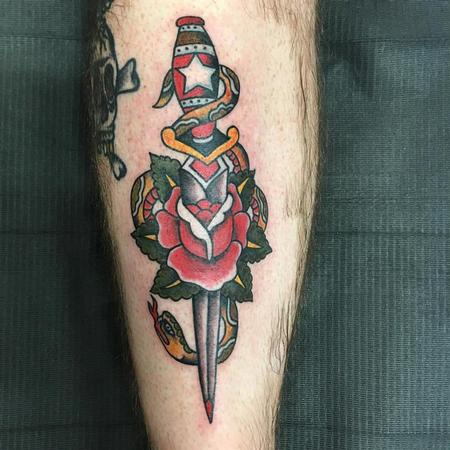 Tattoos - Dagger, Snake and Rose Tattoo - 129045