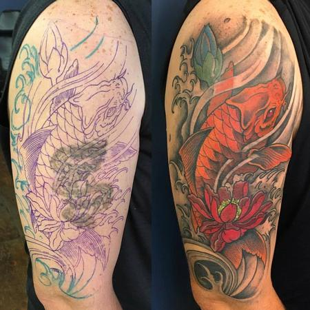 Tattoos - Koi Coverup Tattoo - 129051