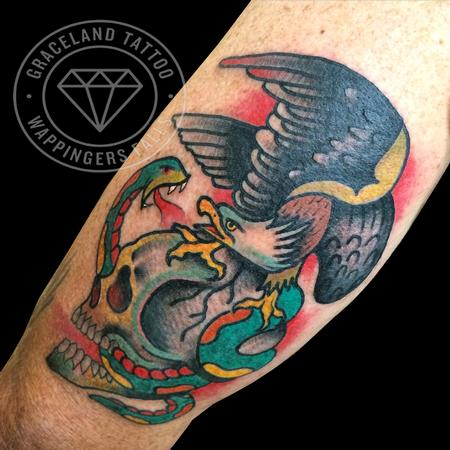 Adam Lauricella - Traditional Skull, Eagle and Snake Tattoo