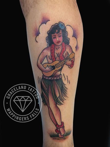 Tattoos - Sailor Jerry Hula Girl Tattoo - 104667