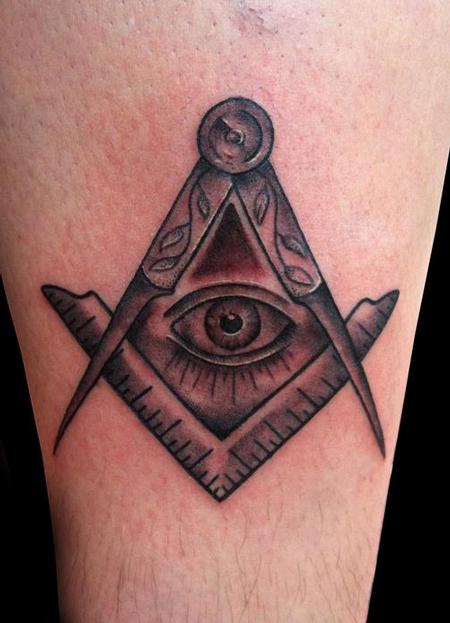 Tattoos - Masonic Square and Compass Tattoo - 70609