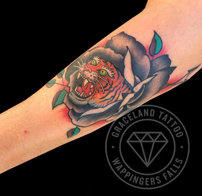 Tiger Rose Traditional Tattoo By Adam Lauricella Tattoonow
