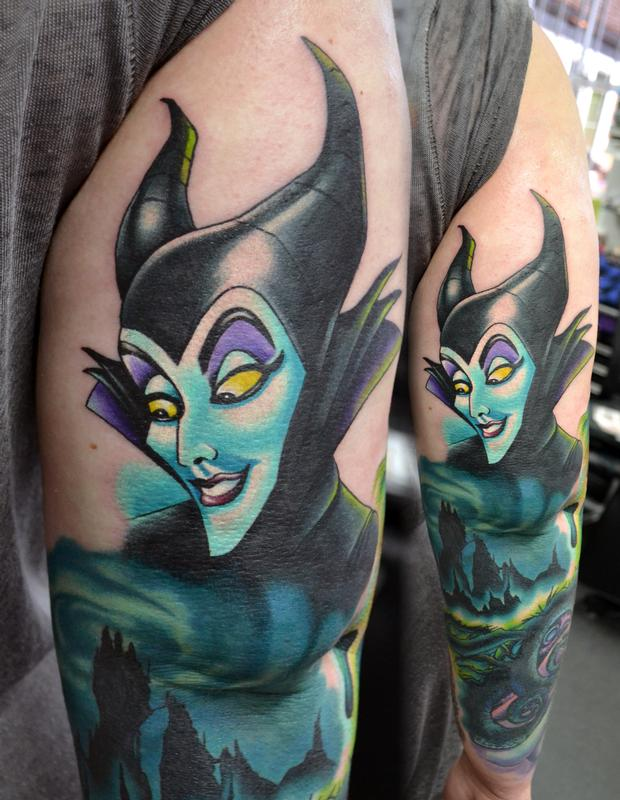 Maleficent Part On Ongoing Sleeve By Alan Aldred Tattoonow