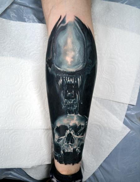 Tattoos - Xenomorph Calf Tattoo - 130363