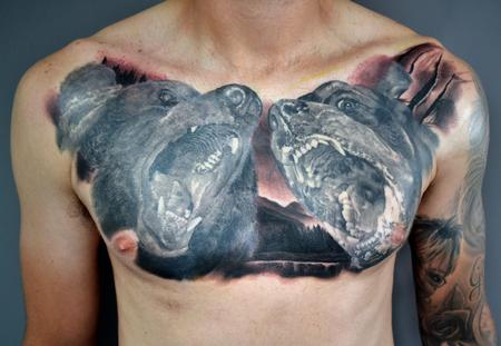 Tattoos - Grizzly Bear vs Rottweiler - 134896