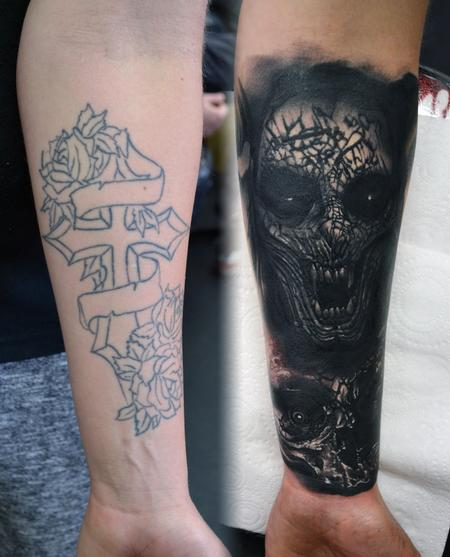 Tattoos - Demon and Skull Cover-Up Tattoo - 117822