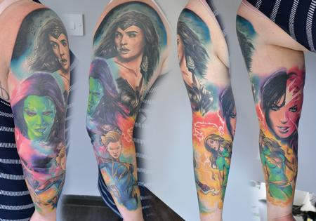Tattoos - Female Superhero Sleeve - 134039
