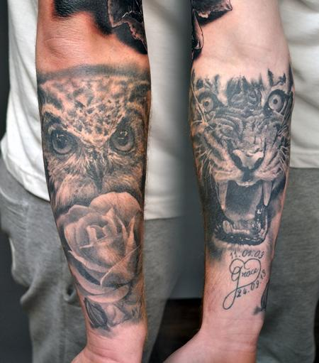 Alan Aldred - Healed Animal Tattoo Forearm