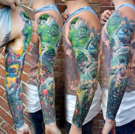 Tattoos - Marvel Comic Sleeve Tattoo - 123486