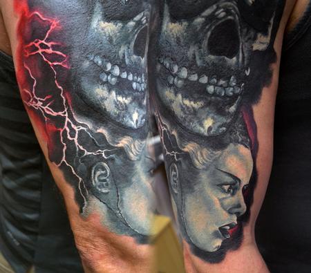 Tattoos - Mini Bride Of Frankenstein Portrait - 114550