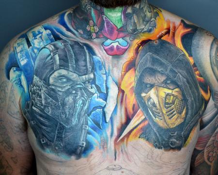 Alan Aldred - Mortal Kombat Chest Tattoo