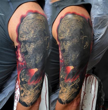 b8247e4858c0a Tattoos - Healed Wolfman and Mummy Half Sleeve Tattoo - 117803