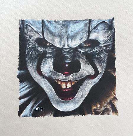 Alan Aldred - Pennywise Colour Pencil Portrait