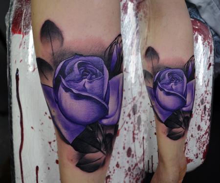 Tattoos - Feminine Purple Rose Tattoo - 112372