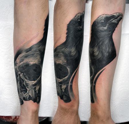 Tattoos - Raven and Skull Morph - 130839