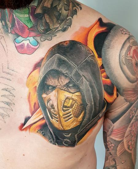 Tattoos - Scoprion Mortal Kombat Chest Piece - 133841