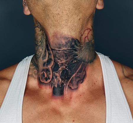 Tattoos - Skull Throat Tattoo - 134522