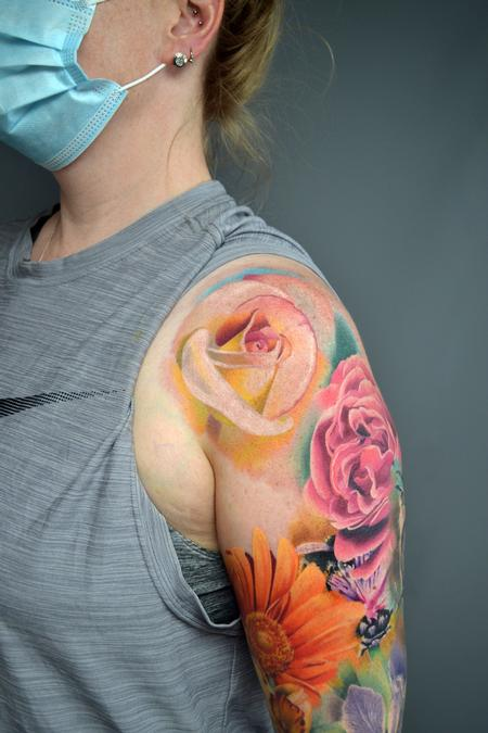 Tattoos - Nature Floral Sleeve In Progress - 142942