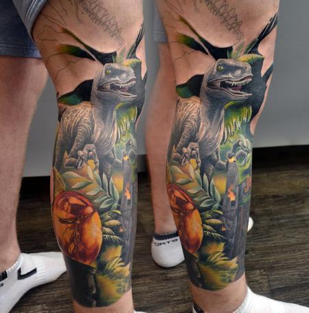 Tattoos - Work In Progress Jurassic Park Leg Sleeve - 142939