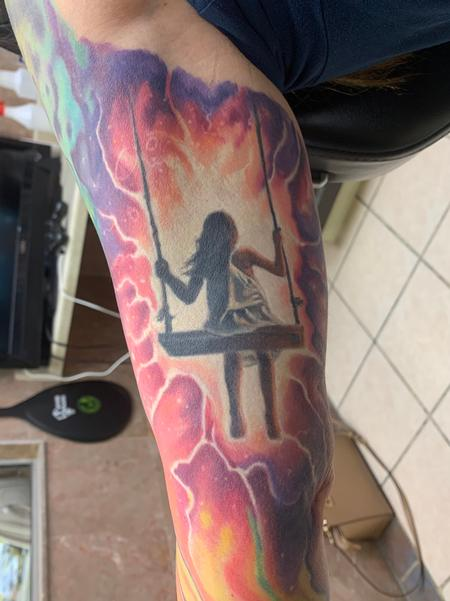 Tattoos - Girl on swing in space - 142390