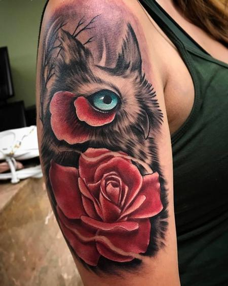 Tattoos - Owl rose mash up - 126538