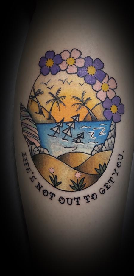 Tattoos - Neck Deep Beach Nature Color Tattoo - 141788