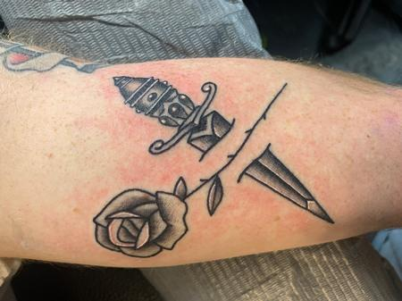 Tattoos - Rose and dagger - 142296