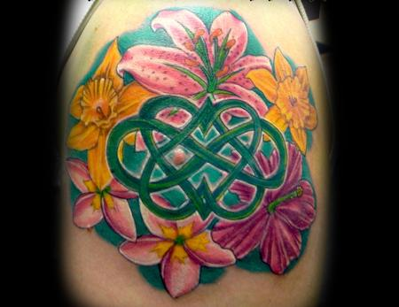 Tattoos - Celtic Knot and Flowers - 140941