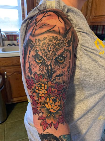 Tattoos - Owl and peony - 142298