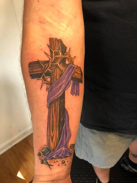 Tattoos - Rustic Cross Purple Sash - 143226