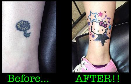 Tattoos - Before and After Hello Kitty - 140981