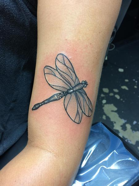 Tattoos - Black and grey dragonfly  - 140130